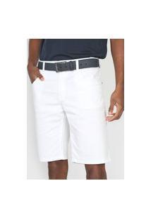 Bermuda Sarja Polo Wear Slim Lisa Branca