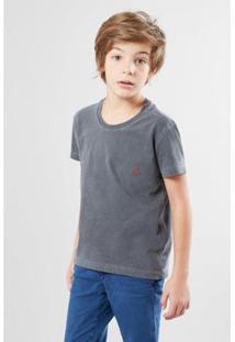 Camiseta Infantil Reserva Mini Brasa Pica-Pau Bordado Masculina - Masculino-Cinza