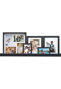 Conjunto De Painel, 4 Porta-Retratos E Prateleira 34X80 Cm Spring Preto E Branco