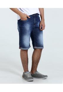 Bermuda Juvenil Jeans Reta Barra Dobrada Marisa