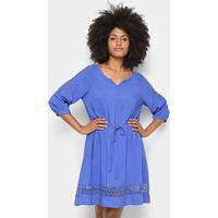 d1f81adb2 Vestido Pérola Evasê Guipir - Feminino-Azul