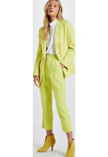 Blazer De Alfaiataria Amarelo Com Botões De Argola Amarelo Neon - 42