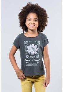Camiseta Flor De Lotus Reserva Mini Feminina - Feminino-Preto