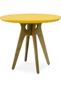 Mesa Redonda 4 Cadeiras Bianchi 90X77Cm Amêndoa E Amarelo