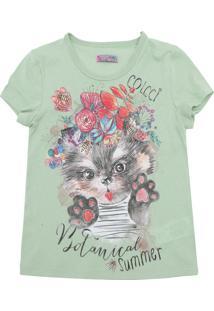 Camiseta Colcci Fun Menina Frontal Verde