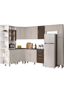 Cozinha Compacta Com Tampo 8 Peças Suiça – Poliman Móveis - Branco / Rovere / Amêndoa