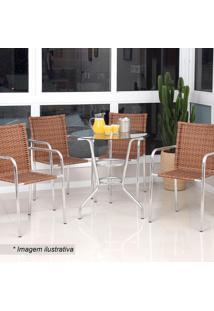 Conjunto De Mesa & Cadeira Mila- Castor & Prateado- Alegro