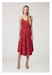 Vestido Midi Floral Toro Vermelho Est Floral Toro Vermelho Corrido