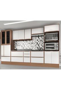 Cozinha Completa 10 Peã§As Calã¡Bria Snow Nogueira/Branco Com Rodapã© - Incolor/Marrom - Dafiti