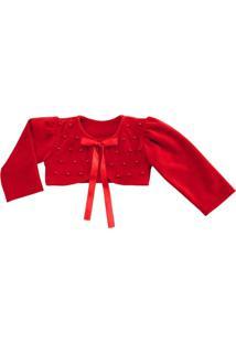 Bolero Libelinha Para Bebê Em Plush Vermelho