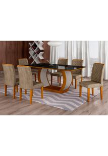 Conjunto De Mesa De Jantar Com Vidro E 6 Cadeiras Maia Ii Suede Animalle Imbuia E Chocolate