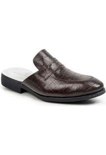 Sapato Masculino Sandro Moscoloni Mule Alligator Marrom Brown