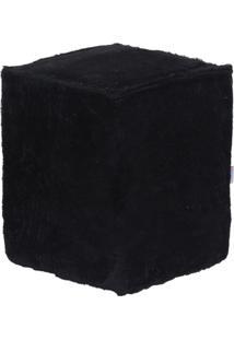 Puff Cubo Pelúcia Preto
