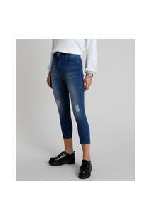 Calça Jeans Feminina Skinny Cintura Super Alta Com Rasgo Azul Escuro