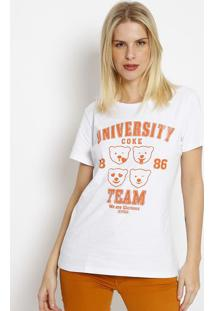 "Camiseta ""University Coke Team""- Branca & Laranja- Ccoca-Cola"