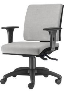 Cadeira Simple Com Braco Em Courino Assento Courino Cinza Claro Base Nylon Arcada - 54926 Sun House