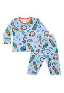 Conjunto Pijama Menino Em Meia Malha Rotativa Azul Bebê - Liga Nessa
