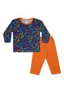 Conjunto Pijama Menino Em M/Malha Camiseta Rotativa Skate Azul E Calça Laranja - Liga Nessa