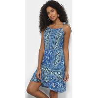 1fe54fb4ea3b Vestido Acrobat Curto Evasê Estampado - Feminino-Azul