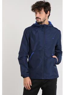 Jaqueta Corta Vento Masculina Esportiva Ace Com Capuz Azul Marinho