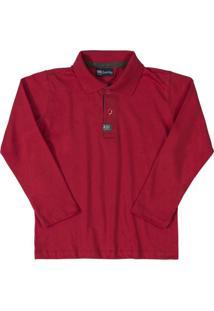 Camisa Polo Infantil Longa Bordo