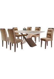 Sala De Jantar Imperatriz 1.80M Com 6 Cadeiras Café/Off White Sued Animale Chocolate