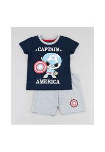 Pijama Infantil Capitão América Manga Curta Azul Marinho
