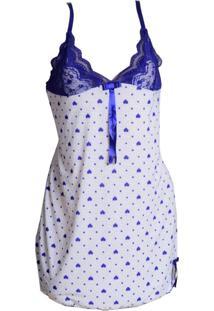 Camisola Plus Size Vip Lingerie Liganete Estampada Branco - Tricae