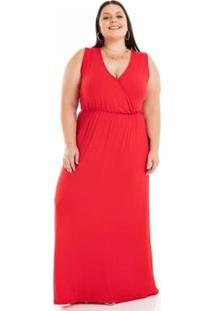 Vestido Longo Viscolycra Com Decote Transpassado Miss Masy Plus Size Feminino - Feminino-Vermelho