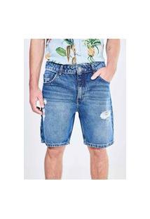 Bermuda Em Jeans Escuro Com Puídos