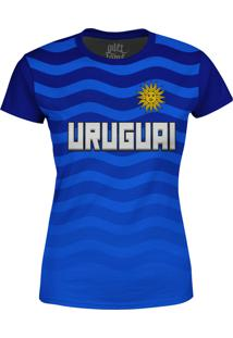 Camiseta Estampada Baby Look Over Fame Uruguai Azul