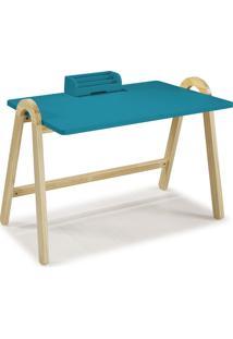Escrivaninha Com Porta Objetos Ringo 1031 Natural/Azul - Maxima