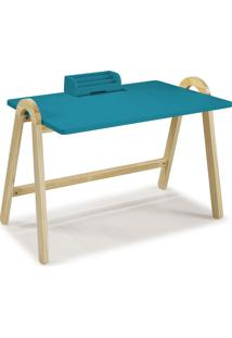 Mesa Escrivaninha Com Porta Objetos Ringo 1031 Natural/Azul - Maxima