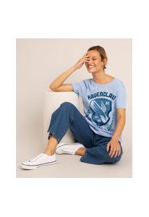 Camiseta De Algodão Ravenclaw Harry Potter Manga Curta Decote Redondo Azul Claro