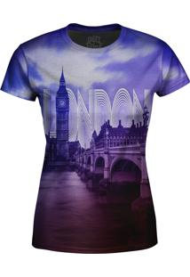 Camiseta Estampada Baby Look Over Fame Londres Roxo