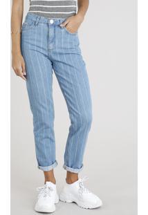 3579f4e16 Calça Jeans Feminina Mom Pants Listrada Azul Claro