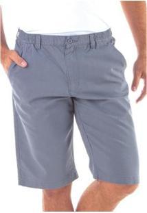 Bermuda Traymon Sarja Regular Com Elástico Masculina - Masculino-Cinza