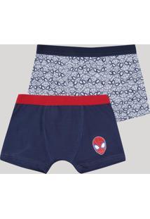 Kit De 2 Cuecas Boxer Infantis Homem Aranha Multicor