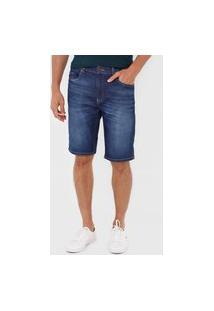 Bermuda Jeans Lacoste Reta Estonada Azul