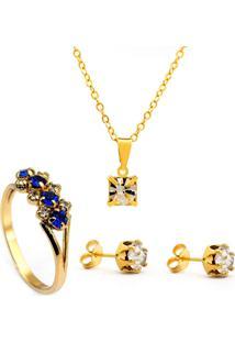 Kit Horus Import Gargantilha Pingente Brincos Anel Banhado Ouro Amarelo18 K - Kit10541