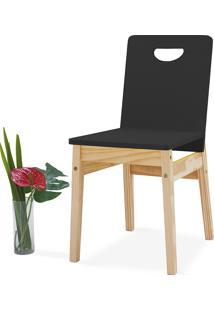 Cadeira Preta Tucupi 40X51X81Cm - Acabamento Stain Natural E Laca Preto