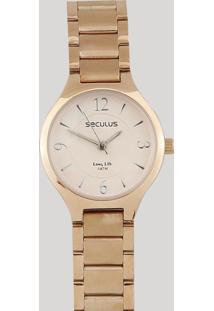 Relógio Analógico Seculus Feminino - 77042Lpsvra1 Rosê - Único