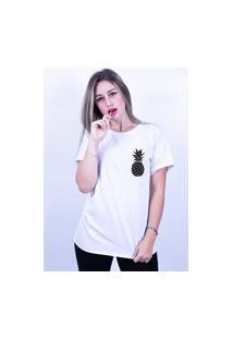 Camiseta Corte A Fio Bilhan Abacaxi Branca