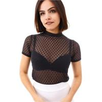 af609e243 Blusa Moda Vício Gola Alta Com Manguinha Tule Transparente Feminino -  Feminino-Preto