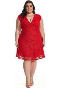 Vestido Lala Dubi Plus Size Curto Guipir - Feminino-Vermelho