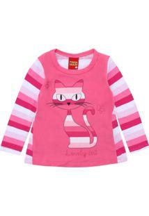 Camiseta Kyly Menina Listrado Rosa