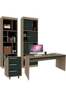 Conjunto De Escritório Home Office Avelã E Ônix