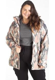 Jaqueta Sarja Plus Size Parka Camuflada Besni Feminina - Feminino-Rosa