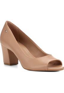 Peep Toe Shoestock Salto Bloco Naked Feminina - Feminino-Noz