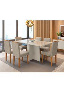 Conjunto De Mesa De Jantar Com Tampo De Vidro Ana E 6 Cadeiras Amanda I Animalle Off White E Cinza